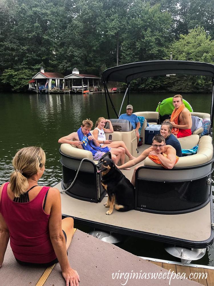 Former Students visiting with Paula and Sherman Skulina at Smith Mountain Lake, VA