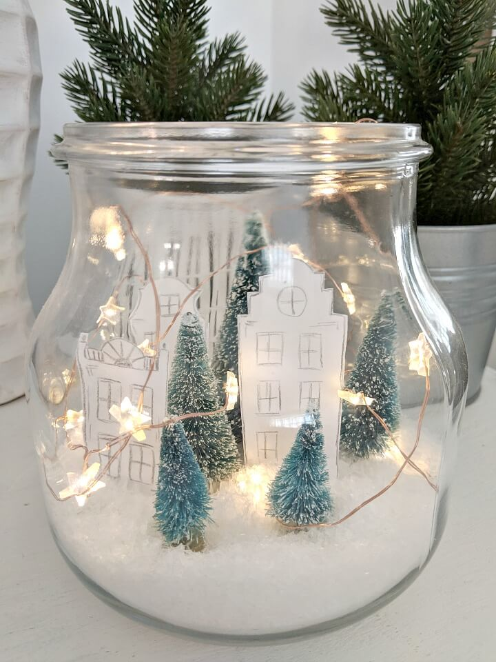 Simple Holiday Village in a Jar