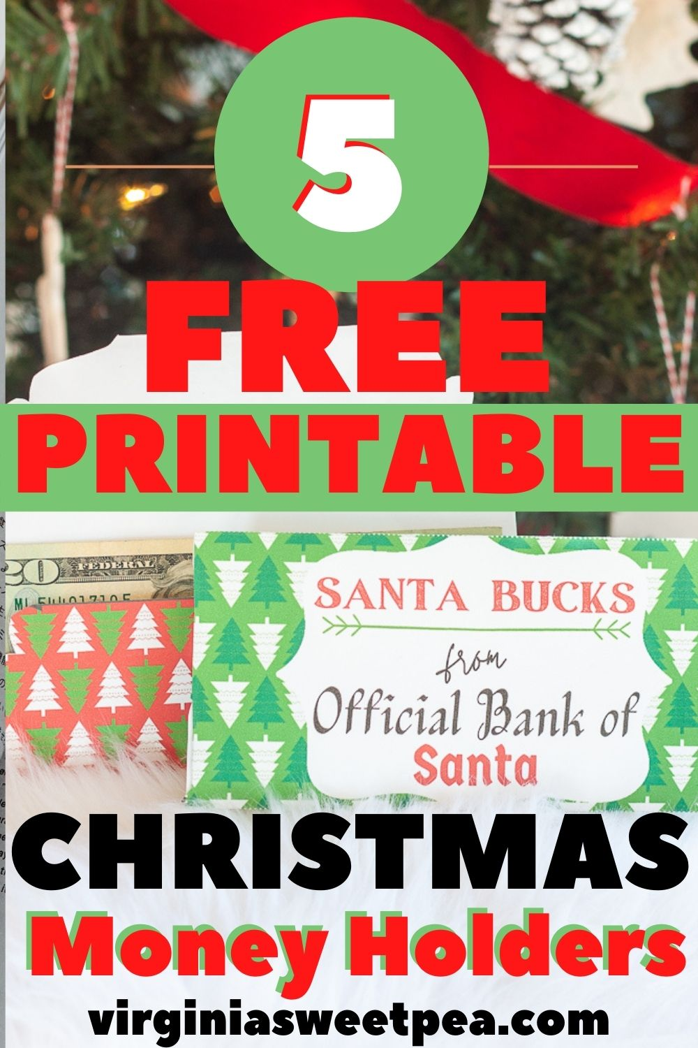"5 Free Printable Christmas Money Holders - If you are giving cash or a gift card for a Christmas gift, use a free printable ""Santa Bucks"" money holder to make the gift extra special.  5 free to print versions are available.   via @spaula"