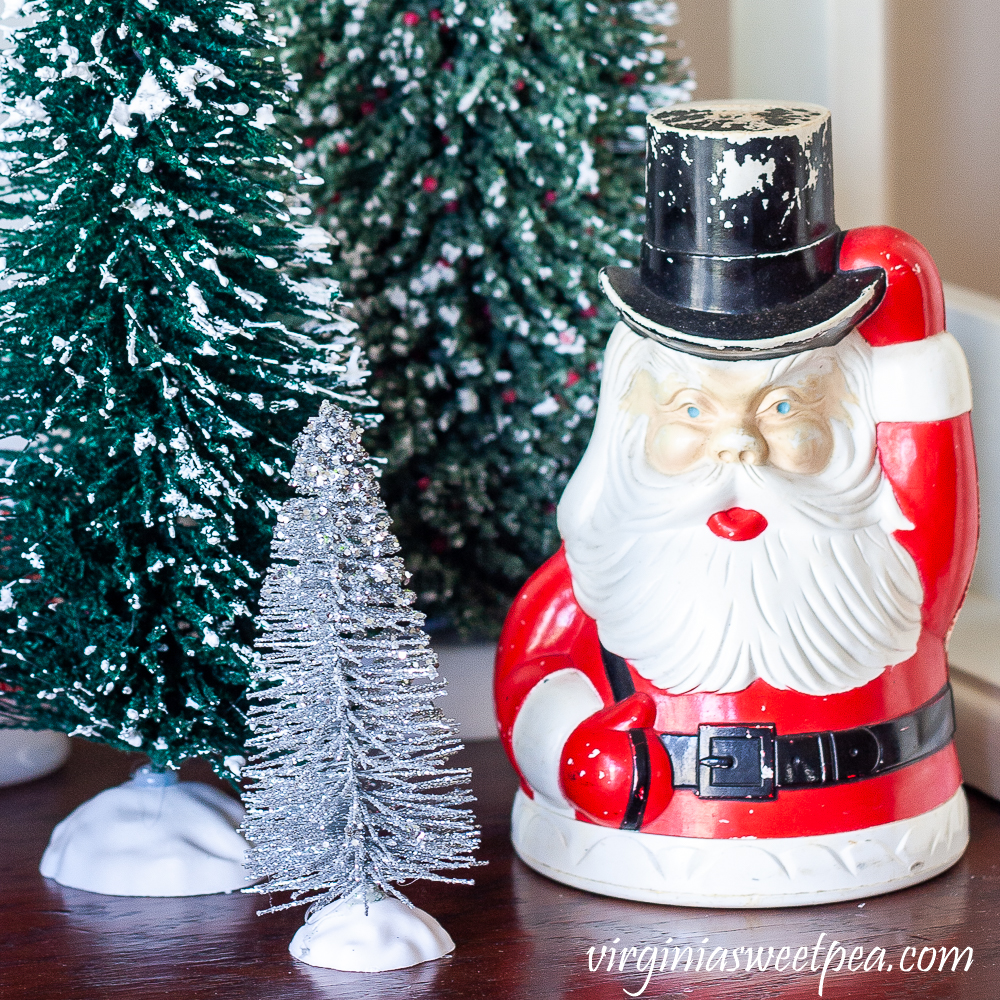 Vintage Santa bank with bottlebrush trees