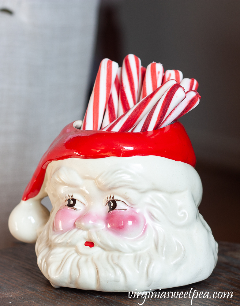 Vintage Santa mug with peppermint sticks