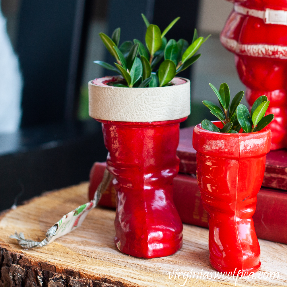 Two vintage Santa boots with Boxwood