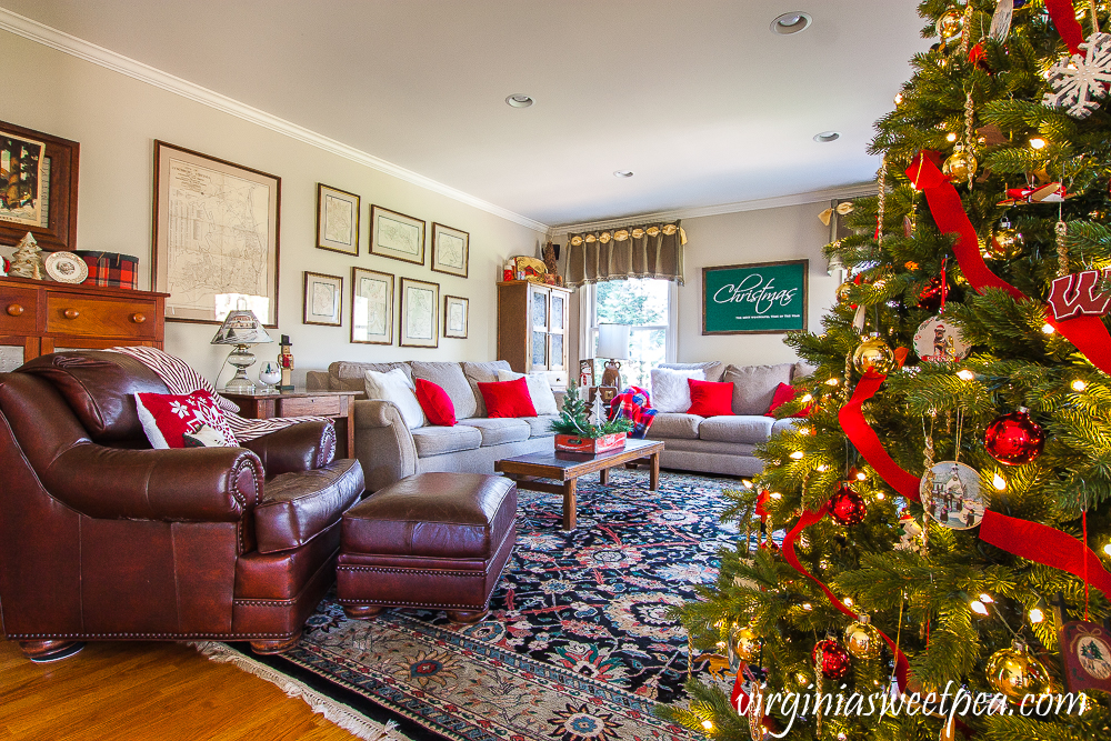 Family room decorated for Christmas with vintage style