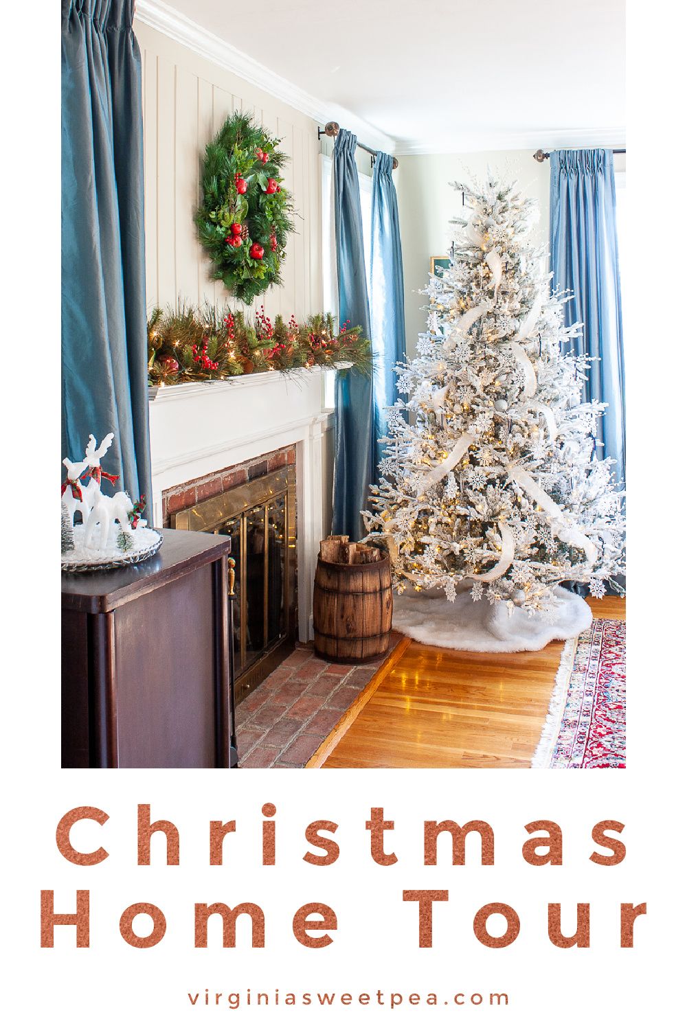 Tour our living room and dining room decorated for Christmas in a classic southern style. via @spaula