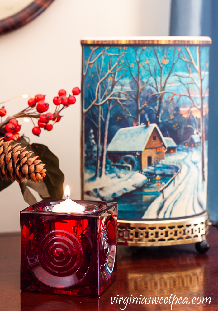 Vintage Econolite motion lamp and red Blenko glass candle holder