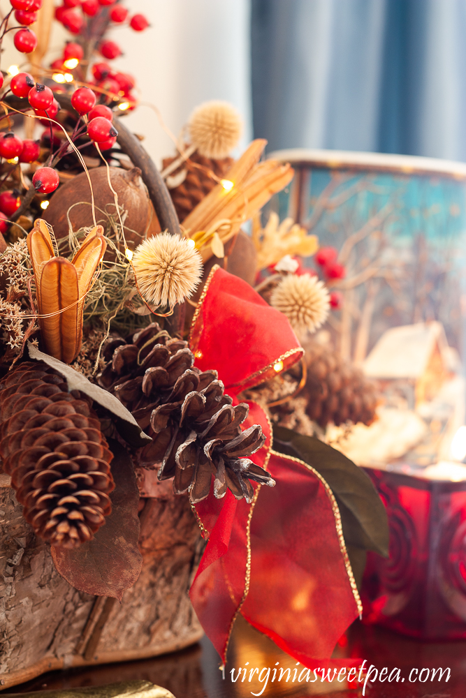 Birch bark basket decorated for Christmas