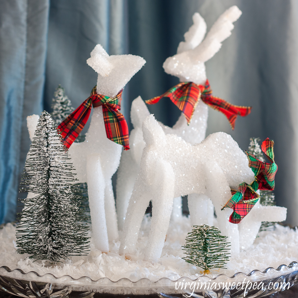 Sparkly reindeer made from styrofoam