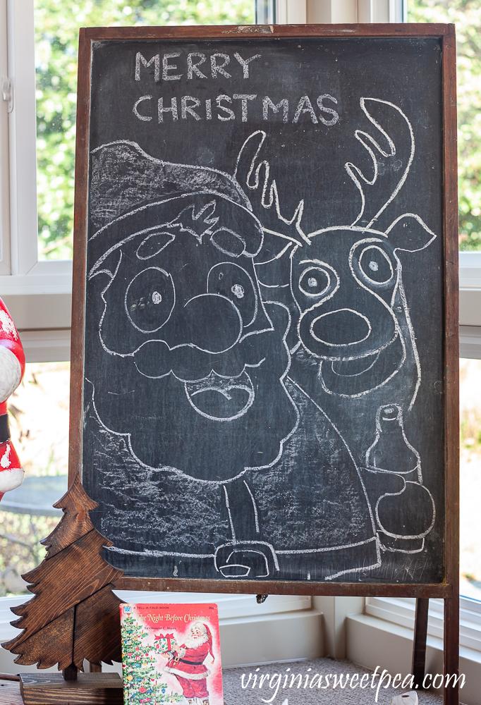 Santa and Reindeer chalk art