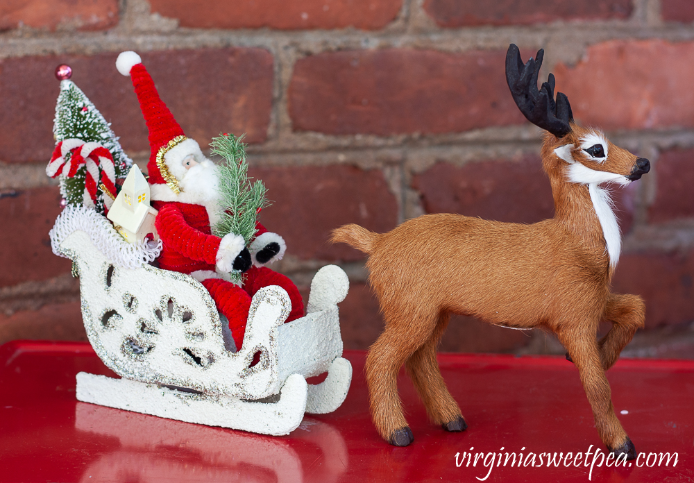 Byer's Choice reindeer and Santa in sled from Vermont Country Store