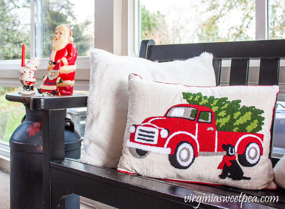 Cracker Barrel pillow with red truck and dog