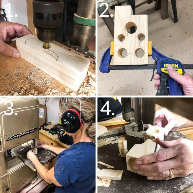 Steps to make a gingerbread man DIY wooden candle holder