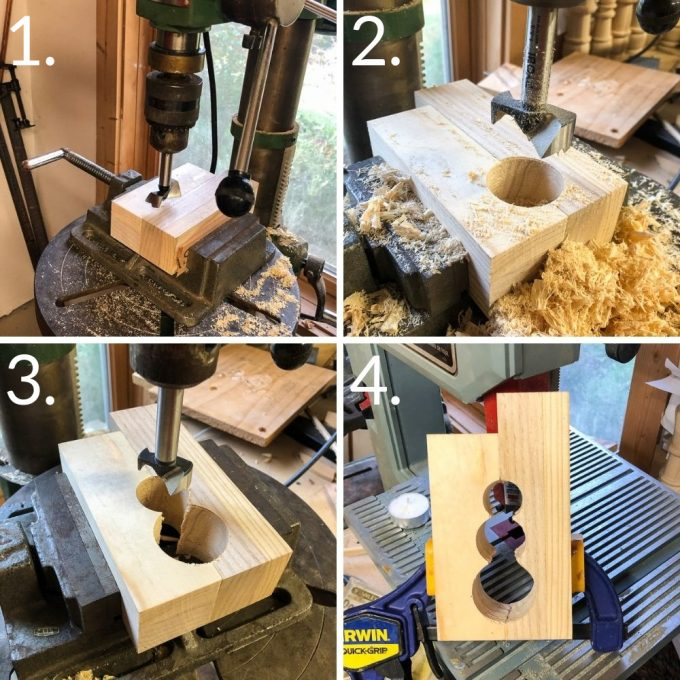 Steps to make a snowman wood candle holder
