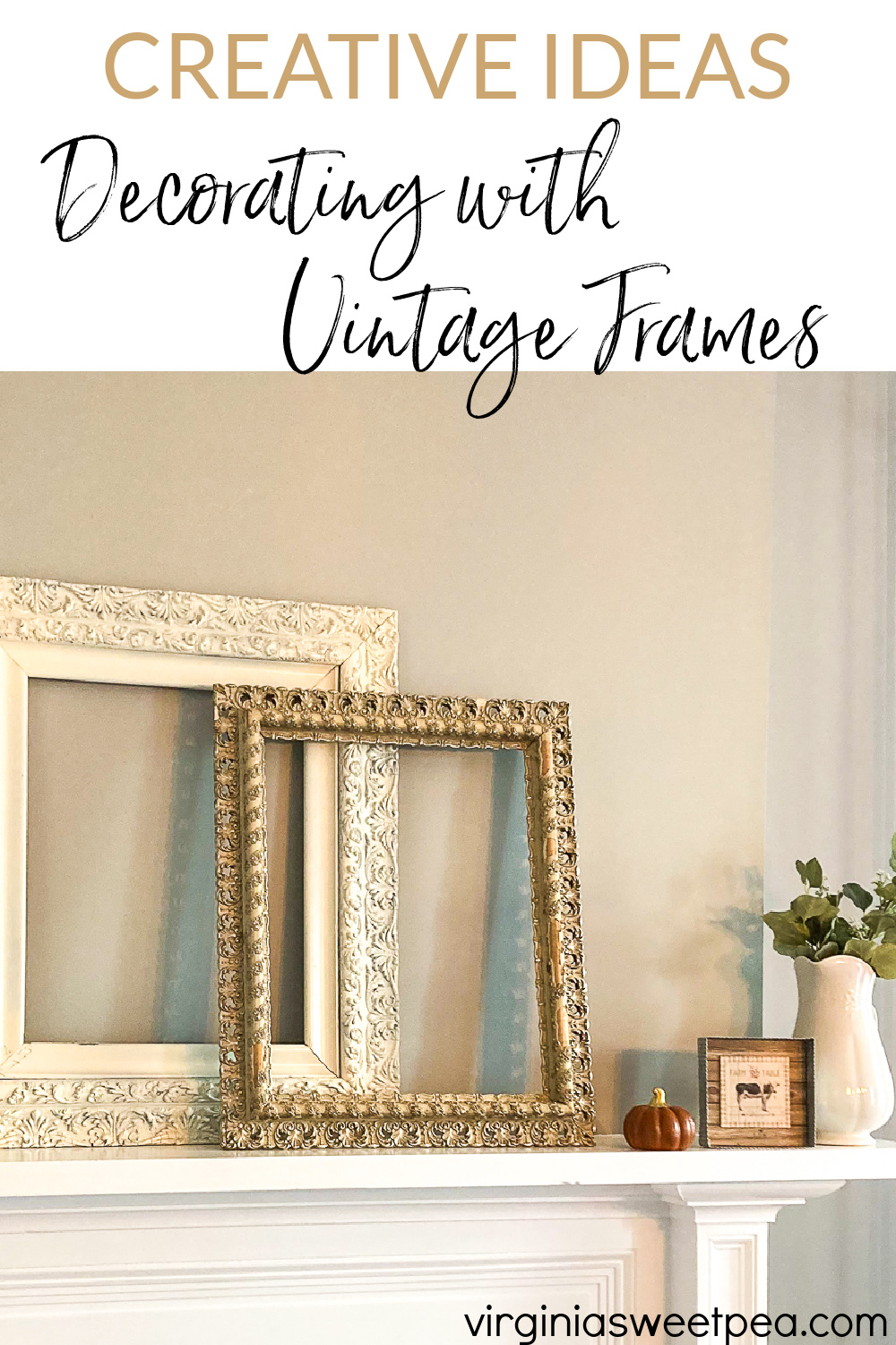 Creative Ideas for Decorating with Vintage Frames - See dozens of creative ideas for using frames for home decor.  From an 1857 farmhouse, a 1912 home, a 1961 ranch, plus modern-day homes, you are sure to be inspired with frame ideas to use in your home decor. via @spaula