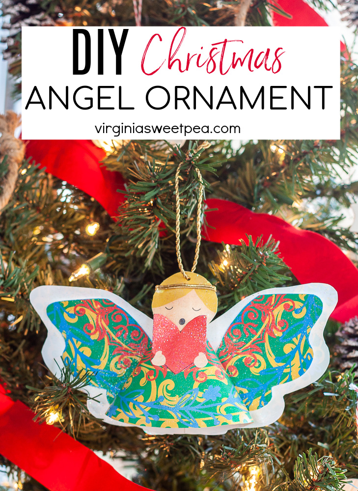 Learn how to make a beautiful angel Christmas ornament using a free printable.  Cut it out, assemble, add sparkle, and hang on your tree.  This is a fun Christmas craft! via @spaula