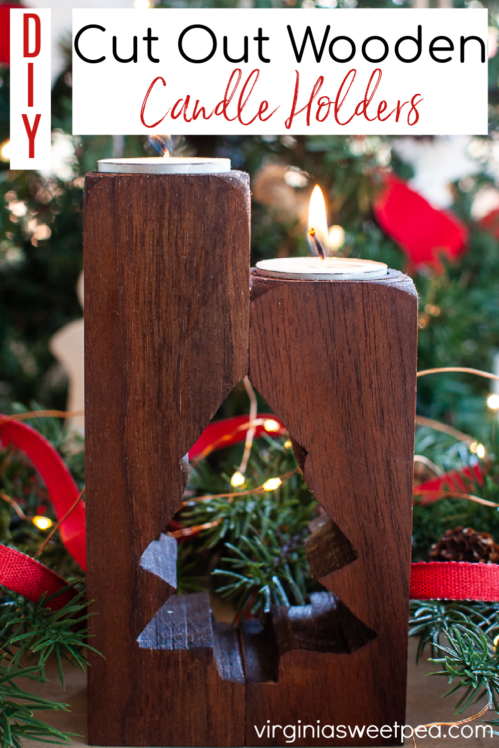 DIY Cut Out Wooden Candle Holder - This wooden candle holder was made using an upcycled table leg.  Get directions to make it plus directions for making with new wood. This project makes a great gift!   #diycandleholder #christmascandleholder  via @spaula