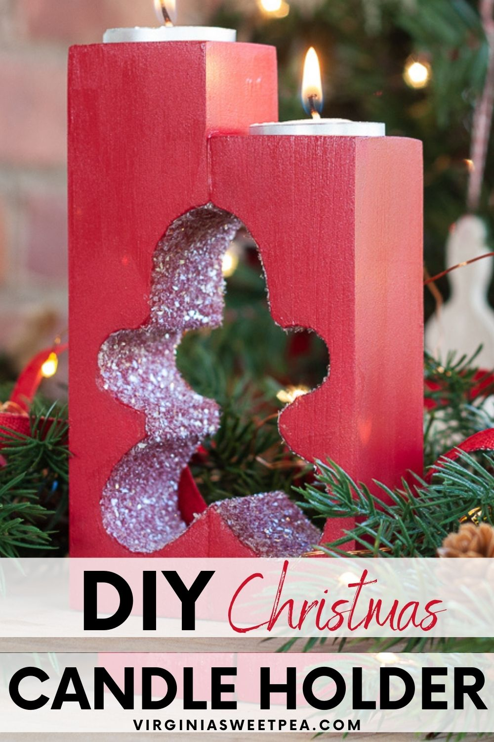 Gingerbread Man DIY Christmas Wooden Candle Holder - Learn how to make a glittered gingerbread candle holder for Christmas decor.  This candle holder also makes a great Christmas gift!  #diycandleholder #diychristmasgift  via @spaula