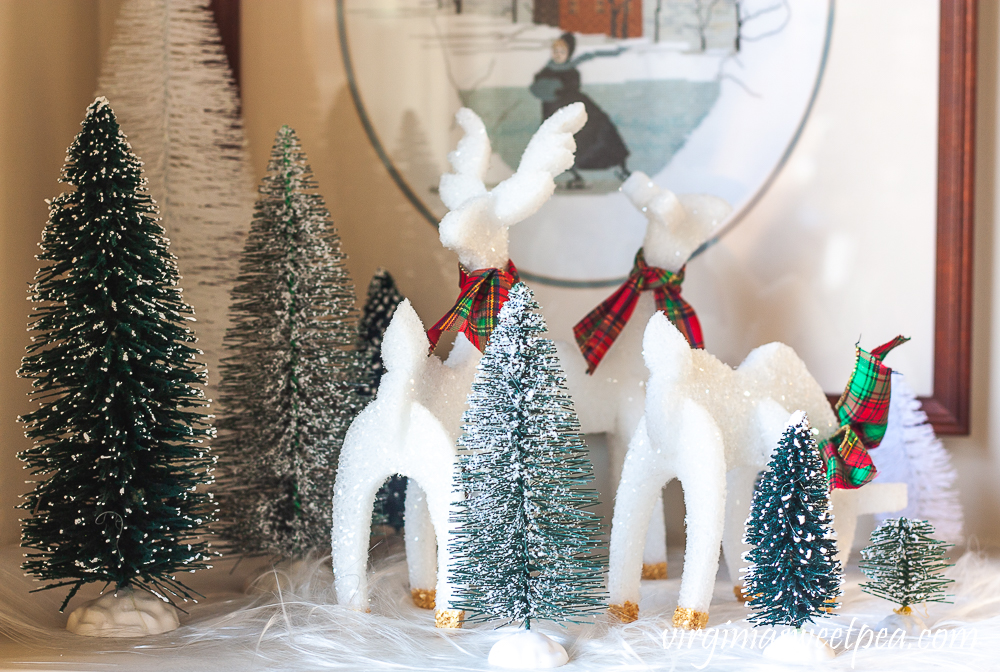 Reindeer crafted from styrofoam with gold hooves