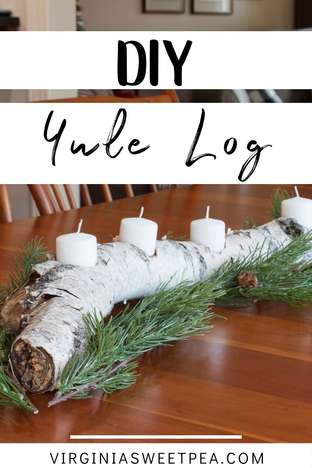 DIY Yule Log - Learn how to make a DIY Yule Log for your home with this step-by-step tutorial. Light the candles in the evening to up the cozy factor in your home for long and dark winter nights. #yulelog #diyyulelog #woodworking via @spaula
