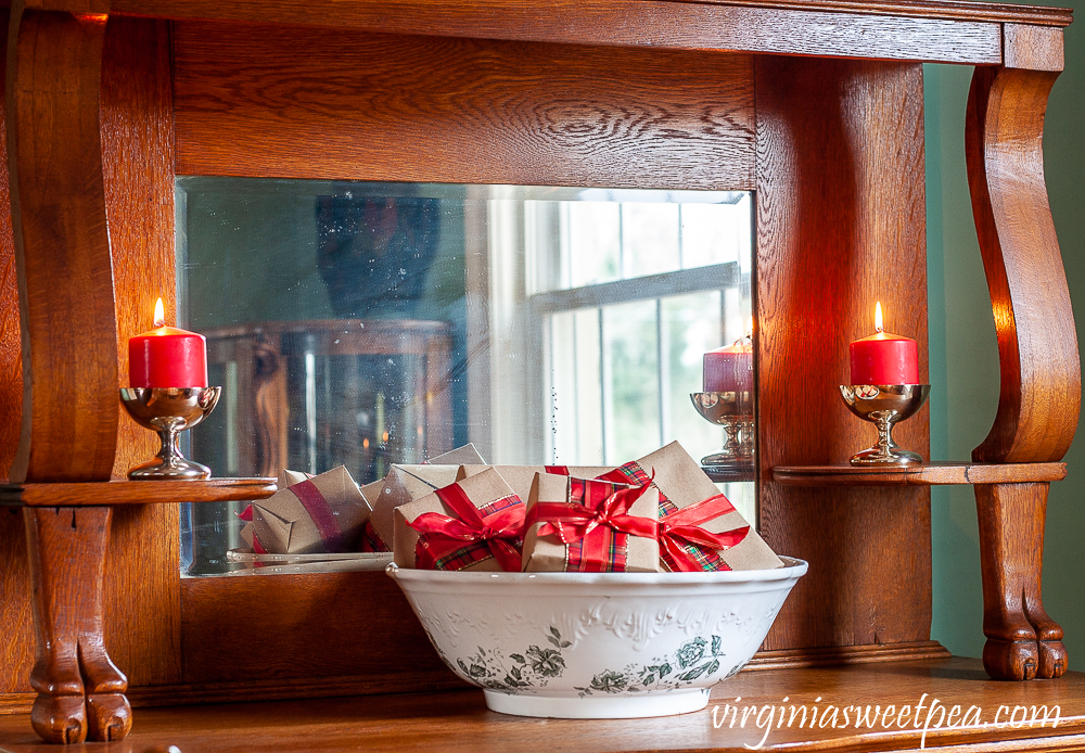 Antique oak buffet decorated for Christmas