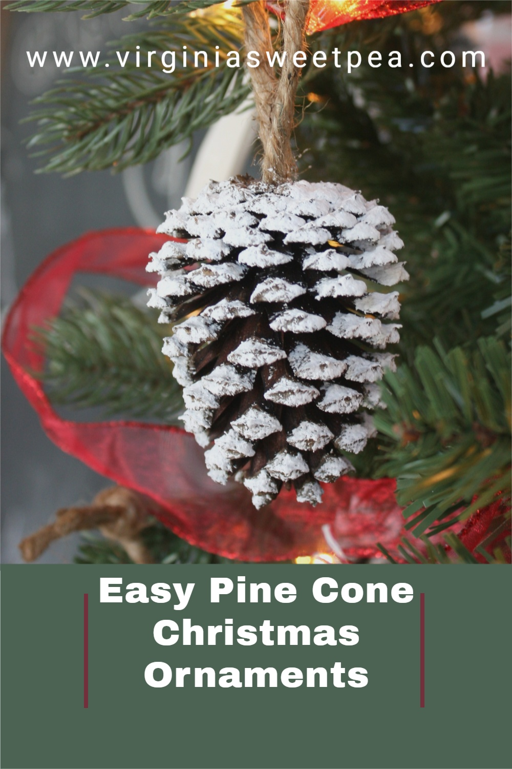 Easy Pine Cone Christmas Ornaments - Use pine cones gathered in the woods to make the easiest Christmas ornaments for your tree.  These snow-kissed ornaments are a Christmas craft easy enough for kids to help to make. via @spaula