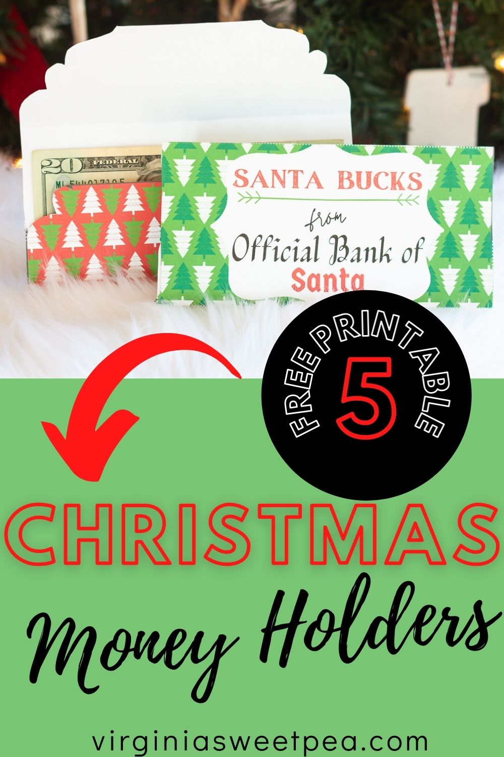 "Free Printable Christmas Money Holders - Print adorable ""Santa Bucks"" money holders to hold cash or gift cards being given as a Christmas gift.  5 free to print versions are available! via @spaula"