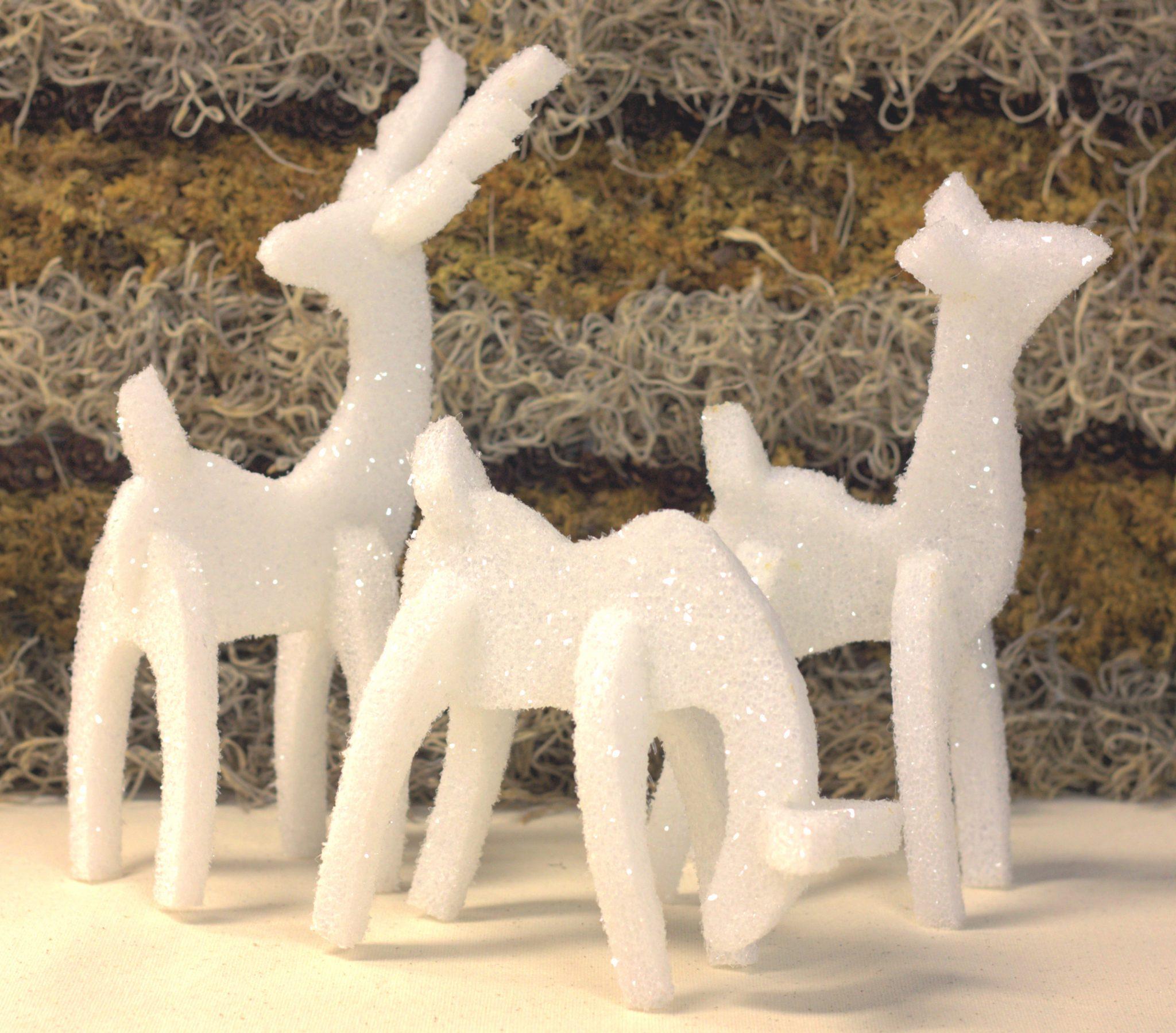 three reindeer made from styrofoam