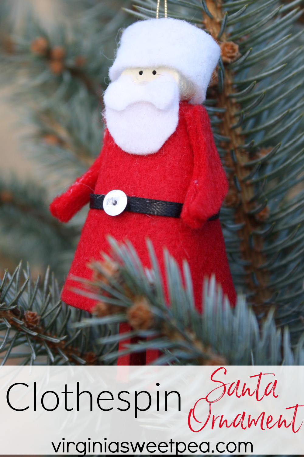 Clothespin Santa Ornament - Learn how to make a Santa ornament using a clothespin, felt, paint, and a sequin.  This is a fun craft to make with older kids and teens.  #handmadechristmasornament #handmadesantaornament #clothespinornament #clothespinsanta via @spaula
