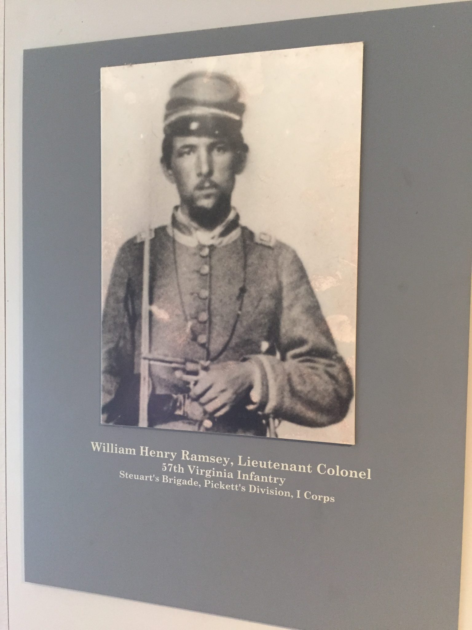 William Henry Ramsey, Lieutenant Colonel, 57th Virginia Infantry, Steuart's Brigade, Pickett's Division, I Corps