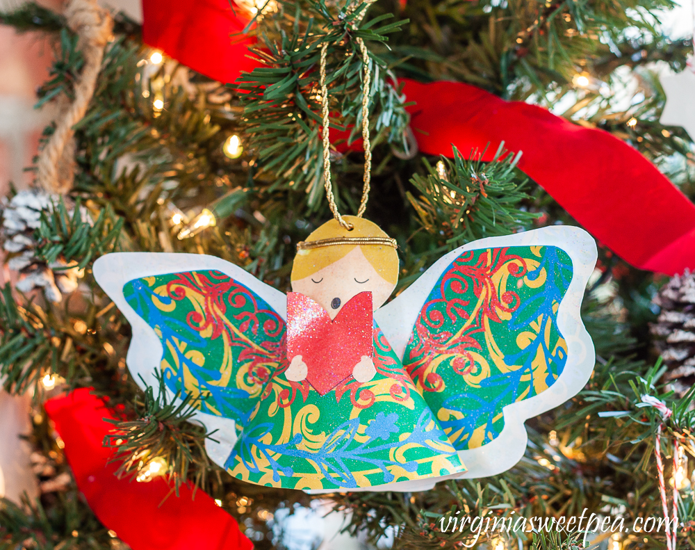 Sparkly Angel Christmas ornament crafted from paper