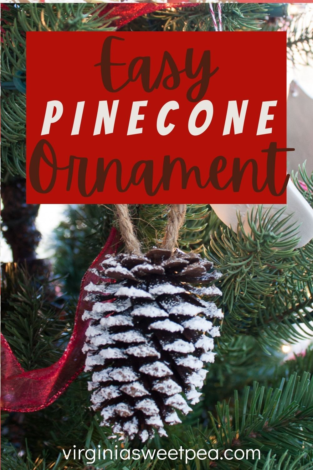 Easy Pine Cone Christmas Ornaments - Use pine cones gathered in the woods to make the easiest Christmas ornaments for your tree.  These snow-kissed ornaments are a Christmas craft easy enough for kids to help to make. #christmasornament #pineconecraft #pineconeornament #handmadechristmasornament via @spaula