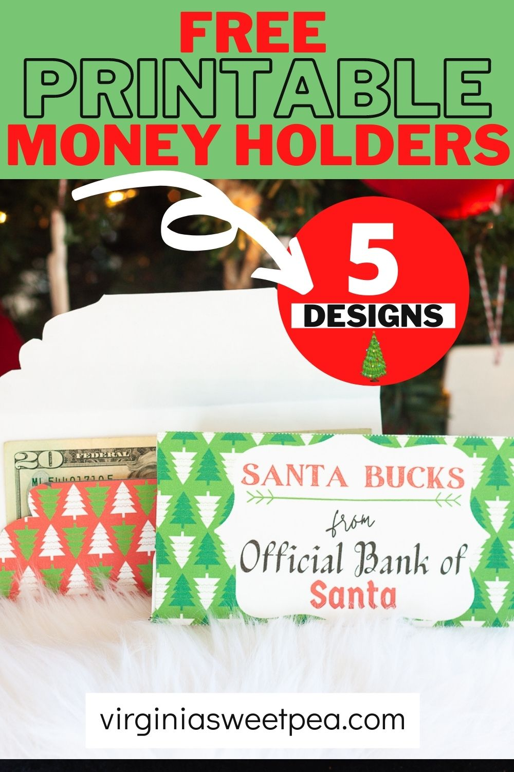 Free Printable Money Holders for Christmas - Make cash or a gift card extra special by giving it in an adorable Santa Bucks money holder.  5 free printable version are available! via @spaula