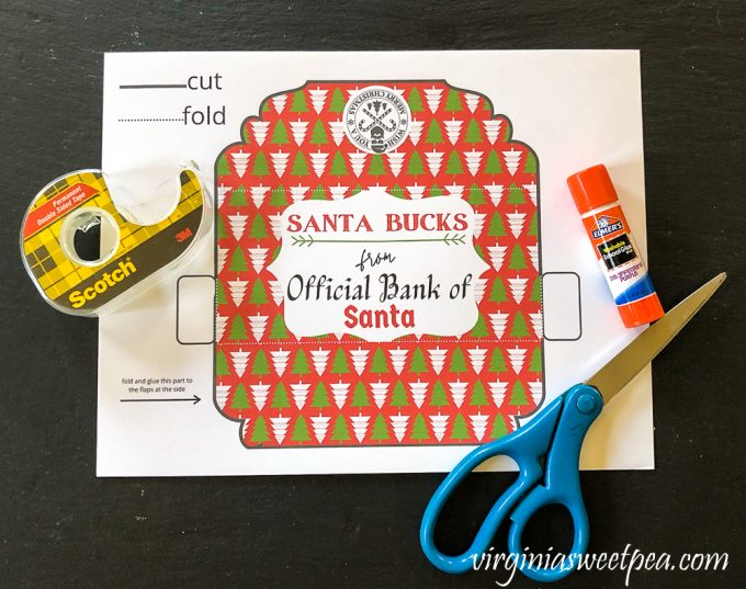 Supplies to make a Christmas money holder