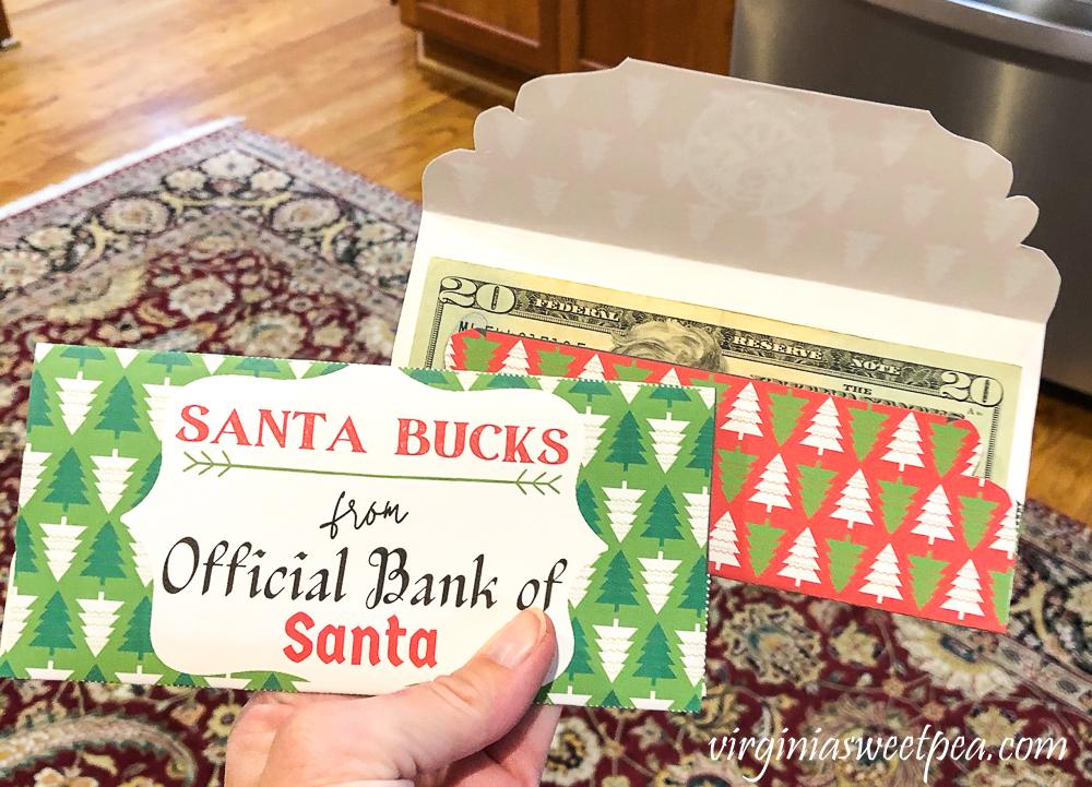 Two Santa Bucks Christmas gift money holder cards