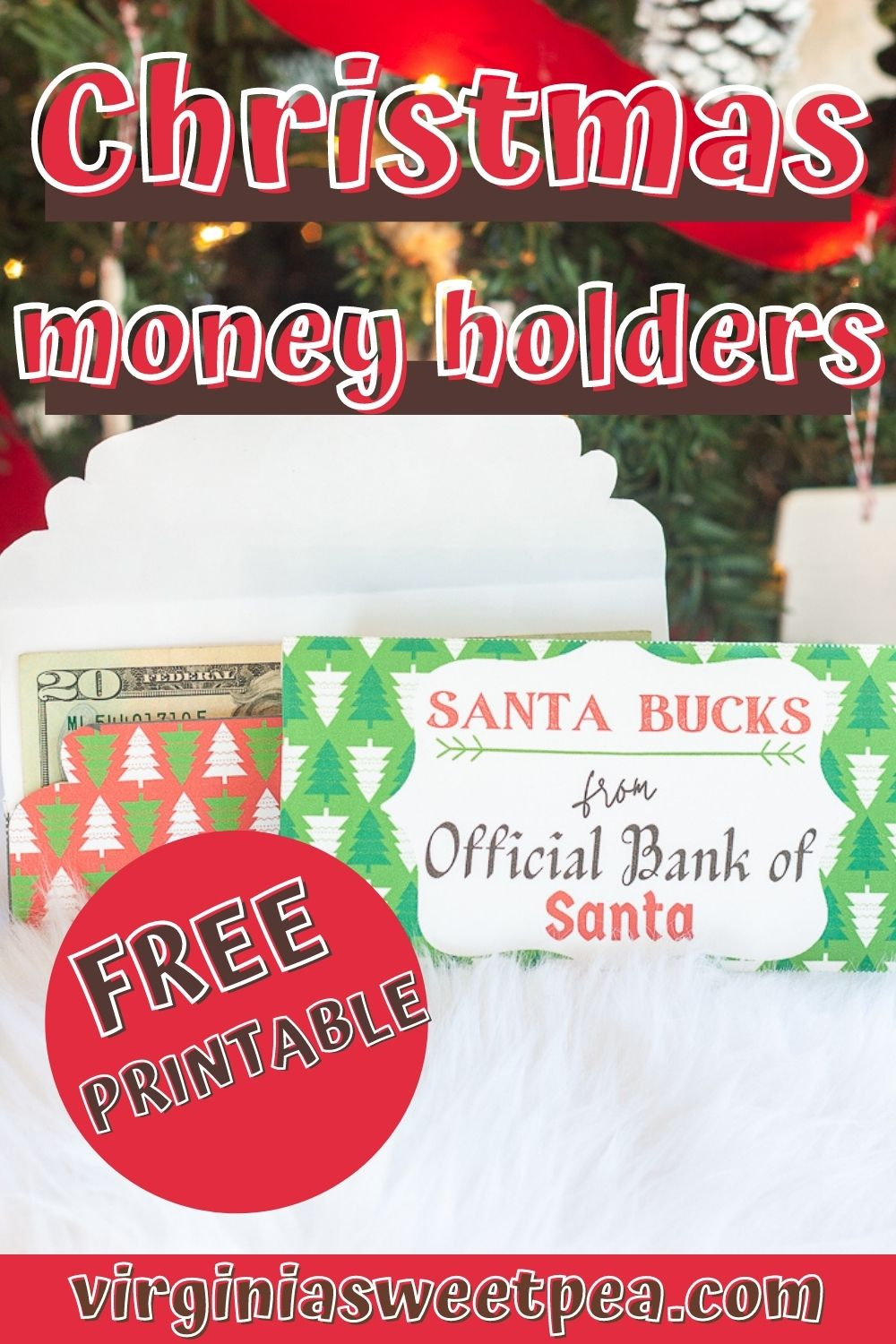 Christmas Money Holders - Use adorable Santa Bucks money holders for giving cash or a gift card as a Christmas gift.  5 free to print versions are available! via @spaula