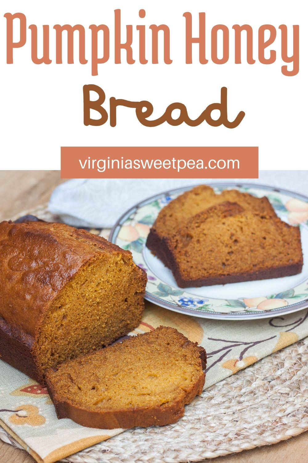 Pumpkin Honey Bread - Perfect for fall, this bread combines the taste of pumpkin, honey, and beer into one yummy fall treat. Get the printable recipe at virginiasweetpea.com. #pumpkin #pumpkinbread #fallrecipe #recipe #pumpkinrecipe via @spaula