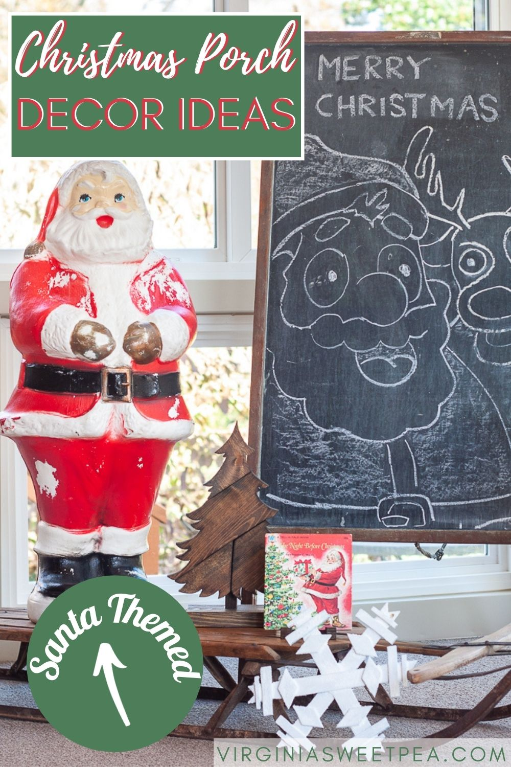 A porch is decorated for Christmas with a vintage Santas theme.  Santa blow molds, Santa boots, Santa candy holders, and Santa candles are some of the items used to decorate this charming porch for the Christmas season. via @spaula