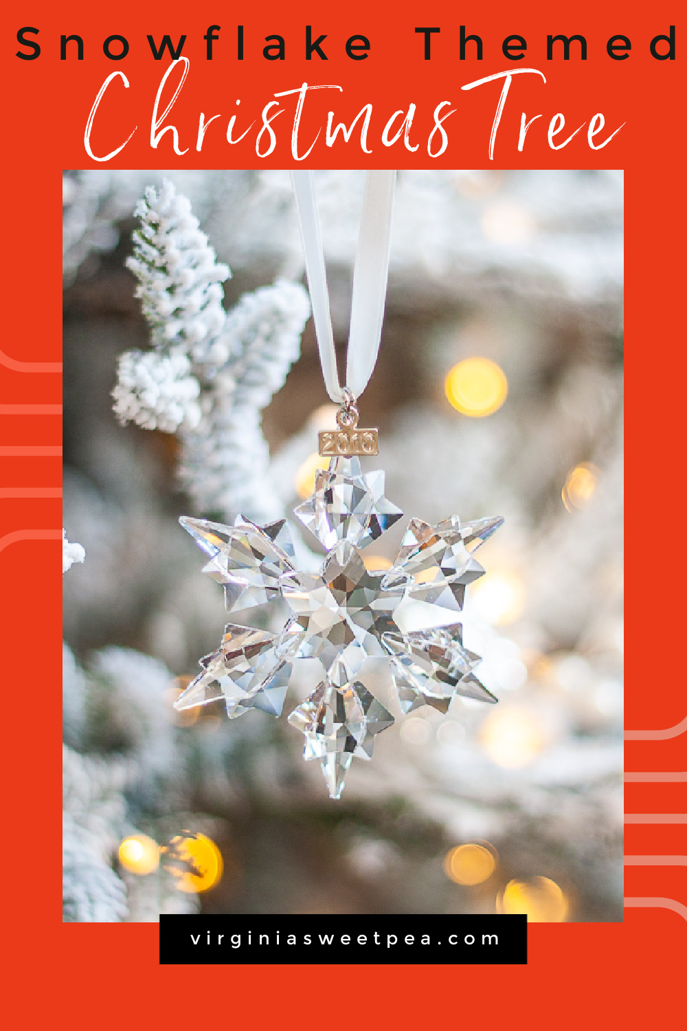 Snowflake Themed Christmas Tree - See a flocked Christmas tree decorated with a snowflake theme featuring Swarovski crystal snowflake ornaments collected for 26 years.  You'll also see 25+ other Christmas trees decorated by talented home decor bloggers.  You are sure to be inspired! via @spaula