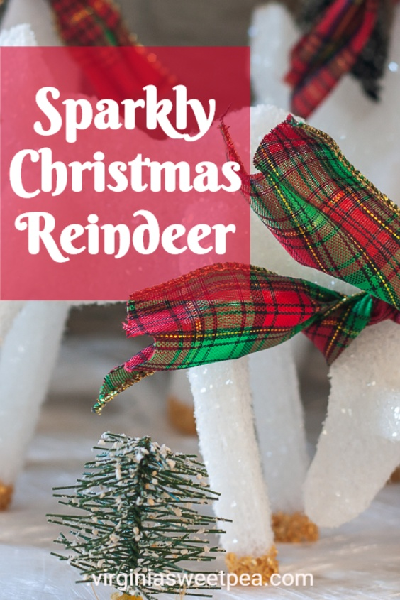 Sparkly Christmas Reindeer - Make a herd of sparkly reindeer to use for Christmas decor with styrofoam sheets and a free printable reindeer template.  These reindeer are a charming Christmas decoration!  #christmascraft #reindeercraft via @spaula