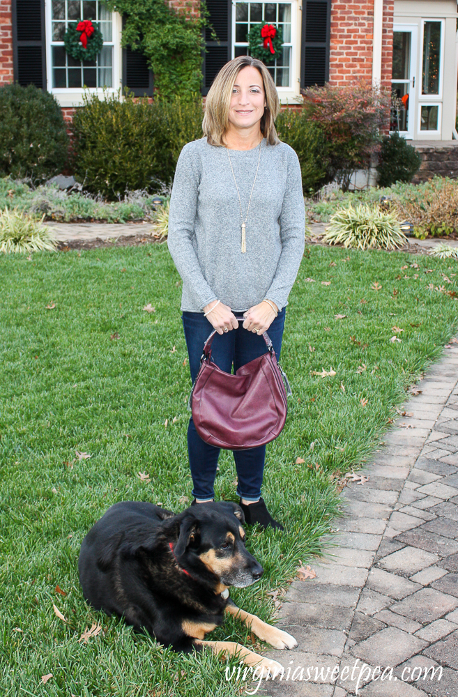 Stitch Fix Pinque Gina Crew Neck Pullover with Kut from the Kloth Bhody Skinny High Rise Fab Ab Jean and Moda Luxe Danella Suede Hobo