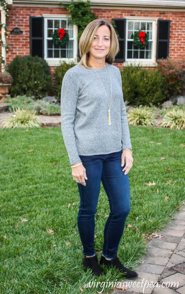 Stitch Fix Pinque Gina Crew Neck Pullover with Kut from the Kloth Bhody Skinny High Rise Fab Ab Jean