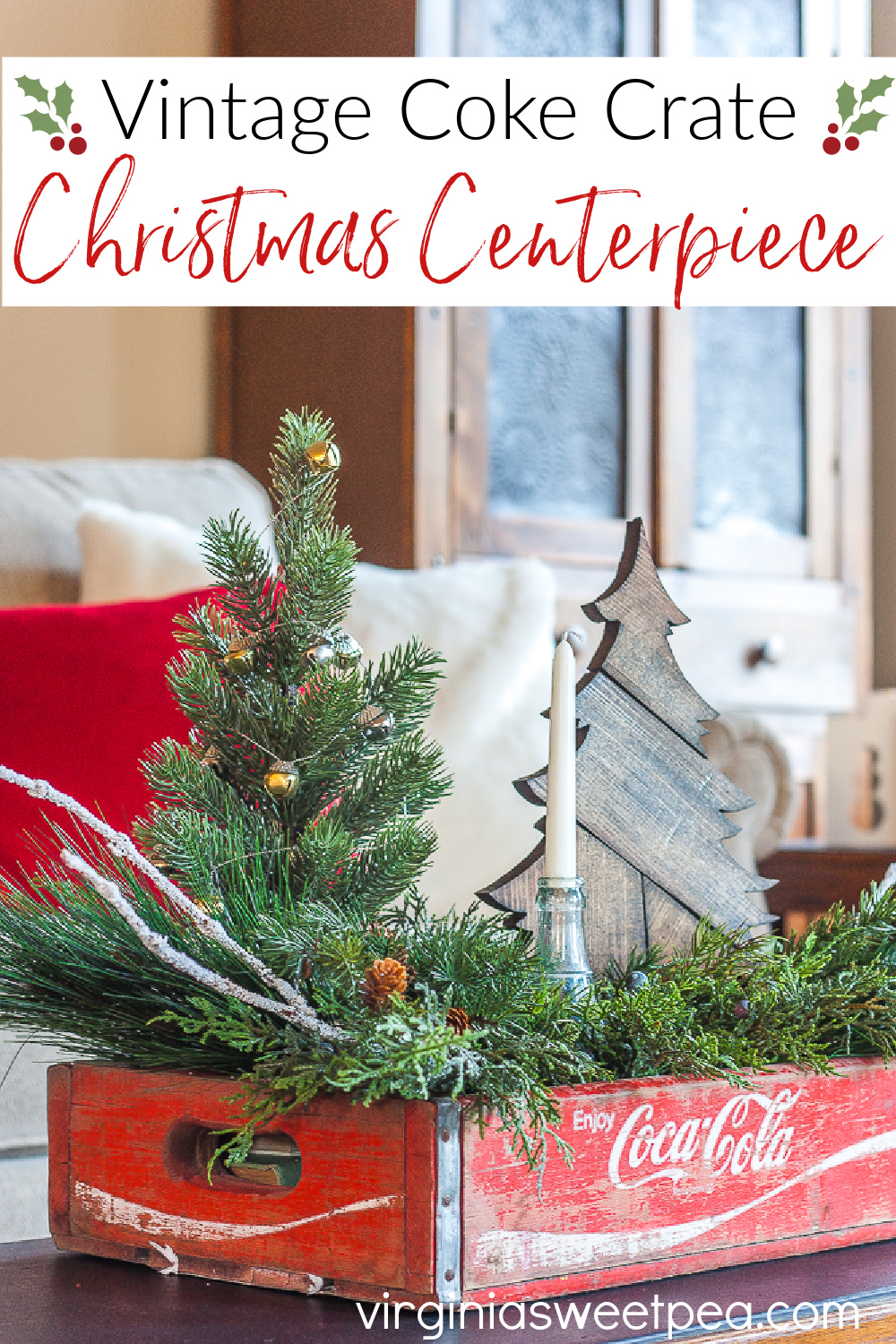 Vintage Coke Crate Christmas Centerpiece - Create a Christmas centerpiece using a vintage Coke crate and see a dozen more ideas for using crates for a Christmas centerpiece. via @spaula