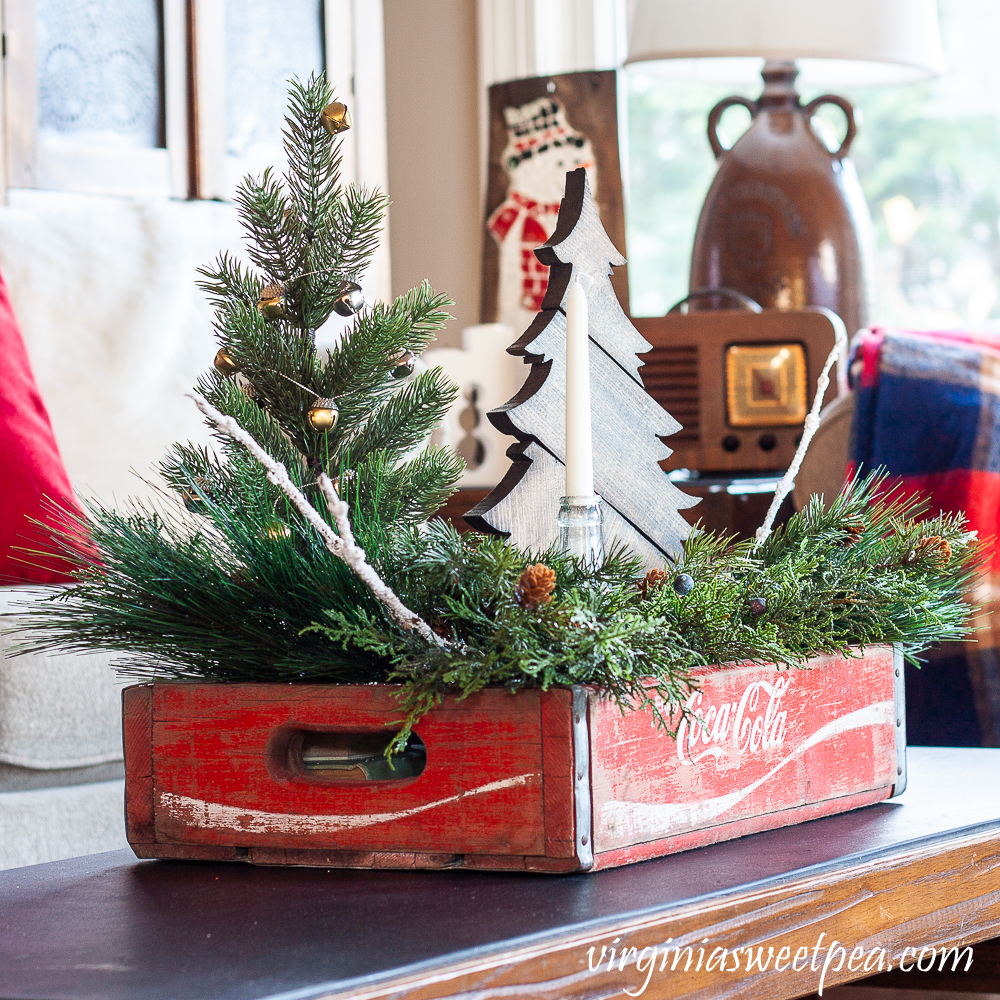 Vintage Coke Crate Christmas Coffee Table Centerpiece