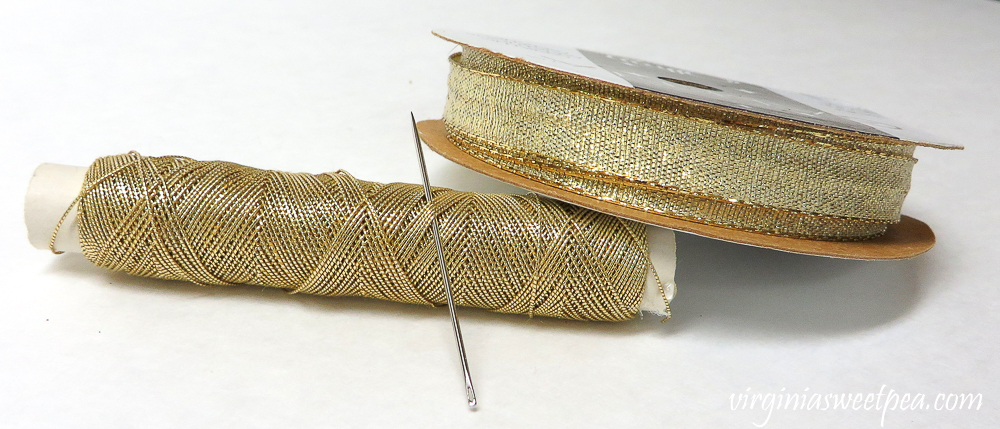 Gold thread and gold ribbon