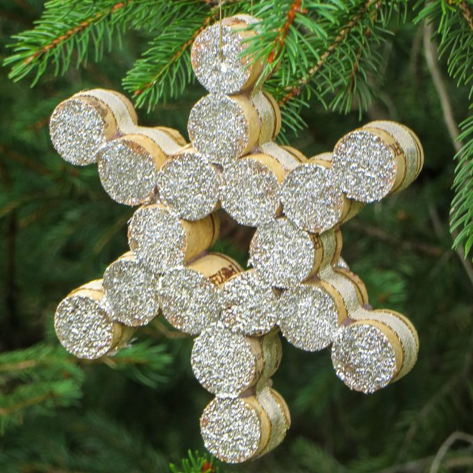 Snowflake made using wine corks