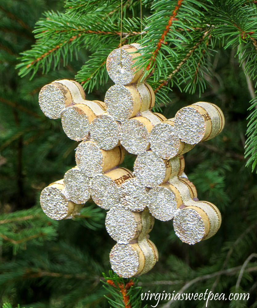 Snowflake made by gluing wine cork halves together.