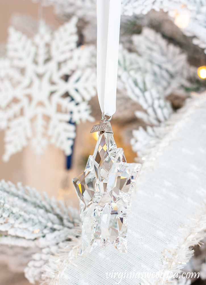 Side view of 2019 Swarovski crystal snowflake ornament