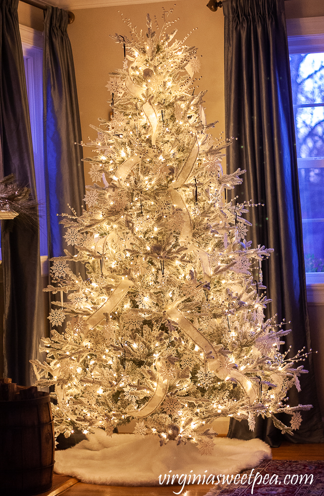 Winter Wonderland Christmas Tree with Swarovski Snowflake Ornaments at night
