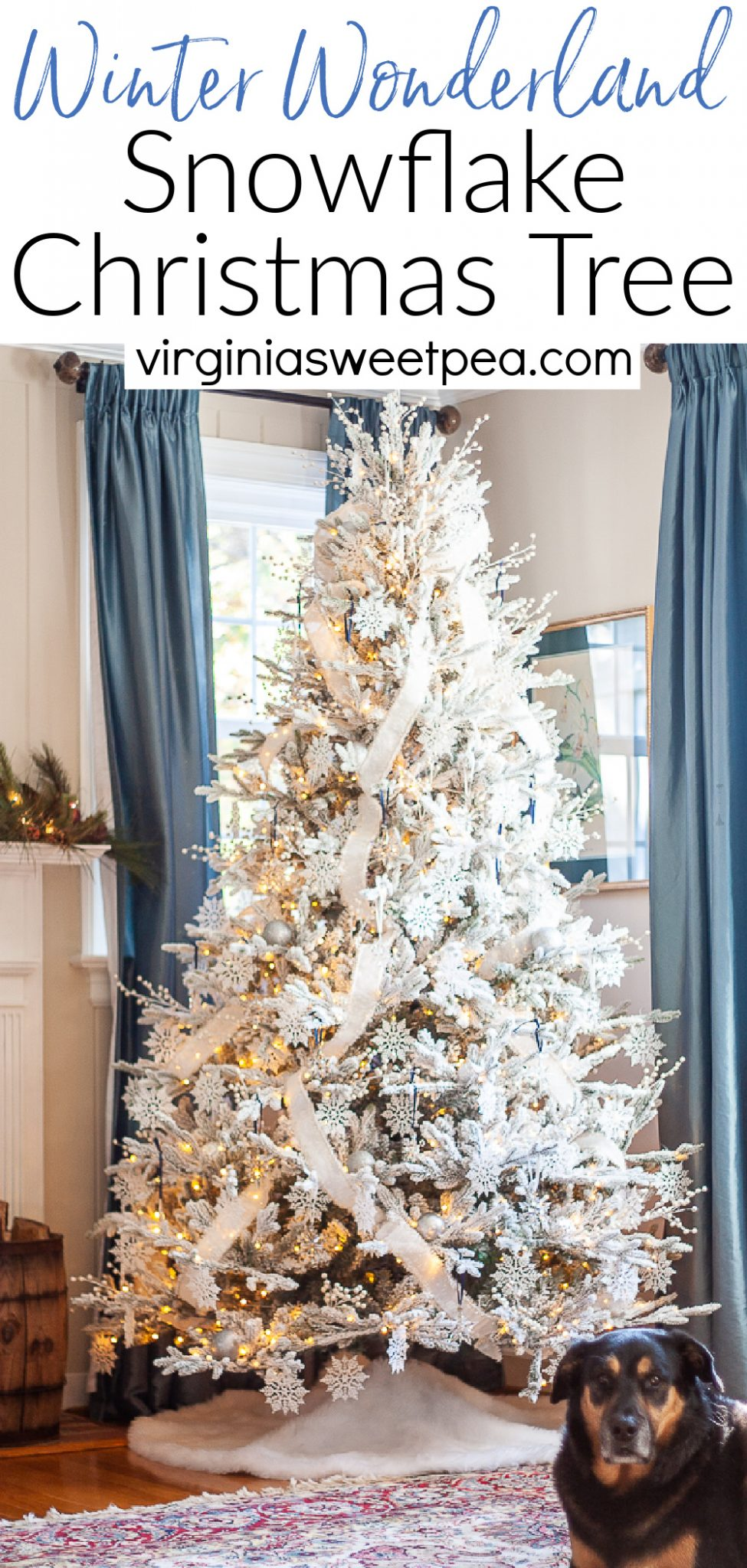 Winter Wonderland Snowflake Christmas Tree - See a flocked Christmas tree decorated with a snowflake theme featuring Swarovski crystal snowflake ornaments.  Get 25+ more Christmas tree decorating ideas from a talented group of home decor bloggers who also are sharing their Christmas trees. You'll be inspired by all of the ideas!  via @spaula