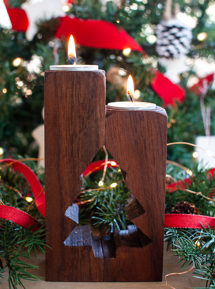 Candle Holder made from an upcycled table leg with a tree cut out
