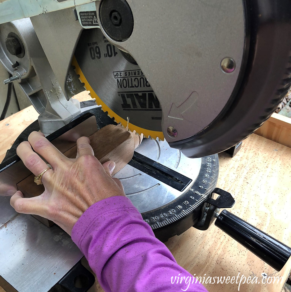 Cutting a furniture leg with a chop saw
